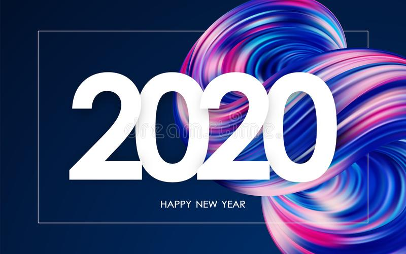 Feliz A?o Nuevo 2020 Tarjeta de felicitación con la forma flúida abstracta colorida 3d Dise?o de moda ilustración del vector