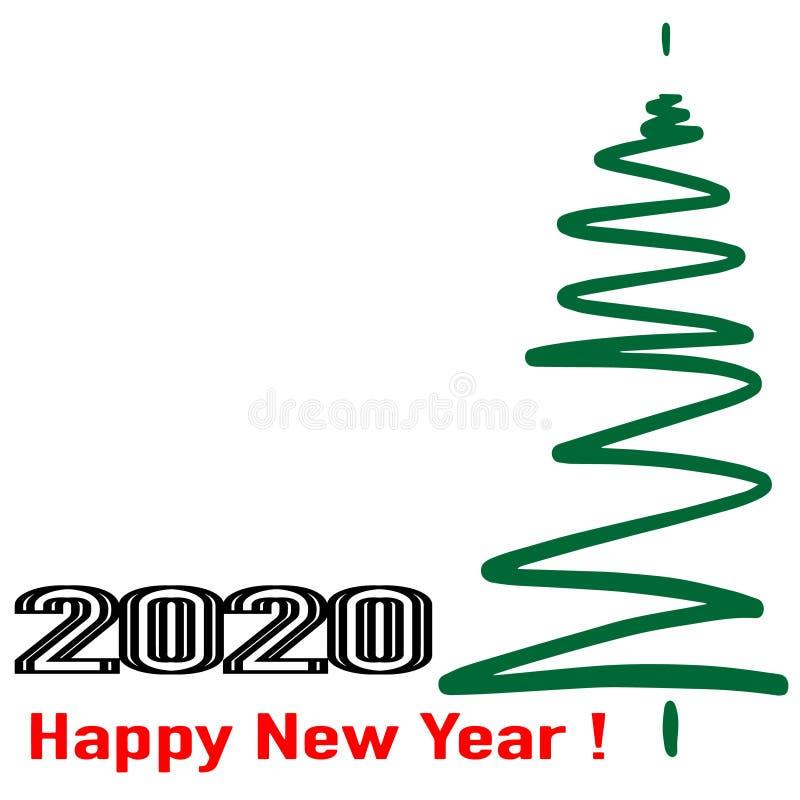 Feliz A?o Nuevo 2020 Texto explosivo de los puntos 2020 Ilustraci?n del vector Aislado stock de ilustración