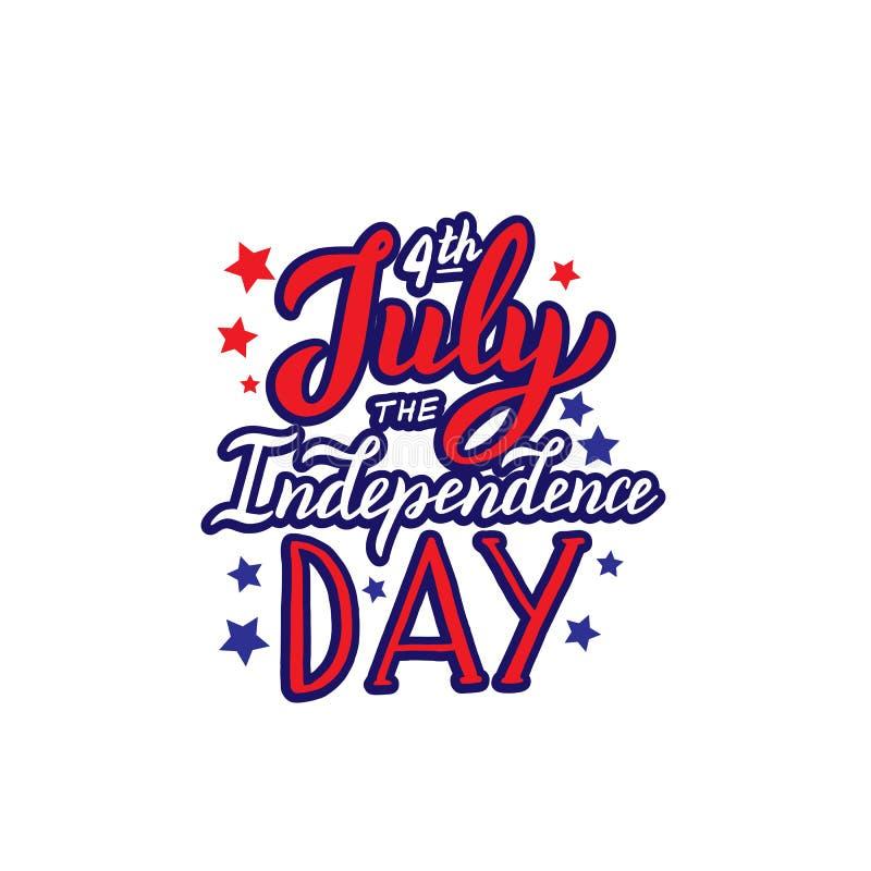 Feliz o texto do Dia da Independência 4o julho que rotula o molde Bandeira para o Web site, cartaz, projeto do cartão ilustração stock