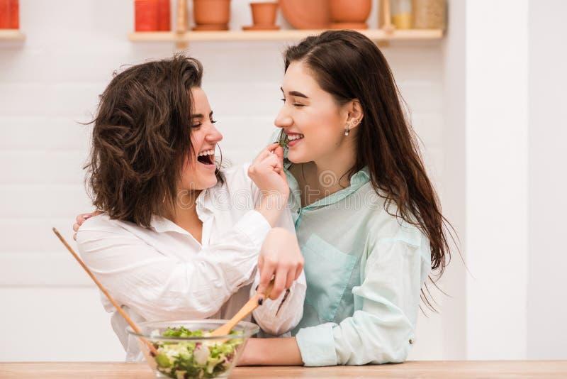 Feliz os mesmos pares do sexo para alimentar-se na cozinha imagem de stock royalty free