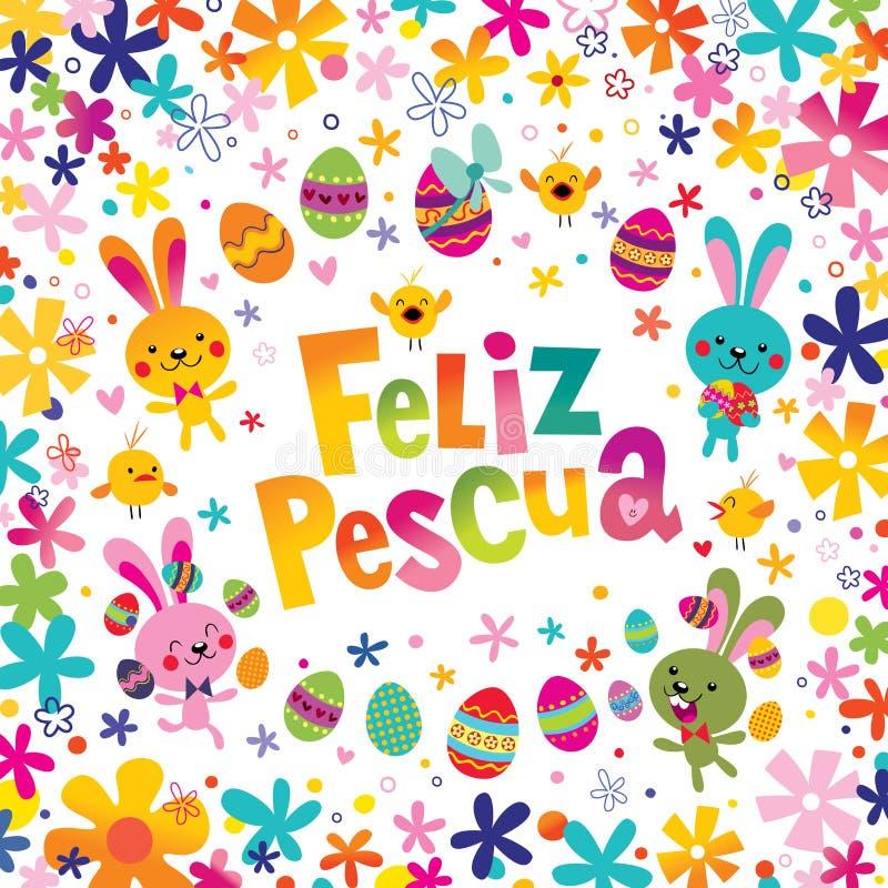 Feliz Pascua Happy Easter en tarjeta de felicitación española libre illustration
