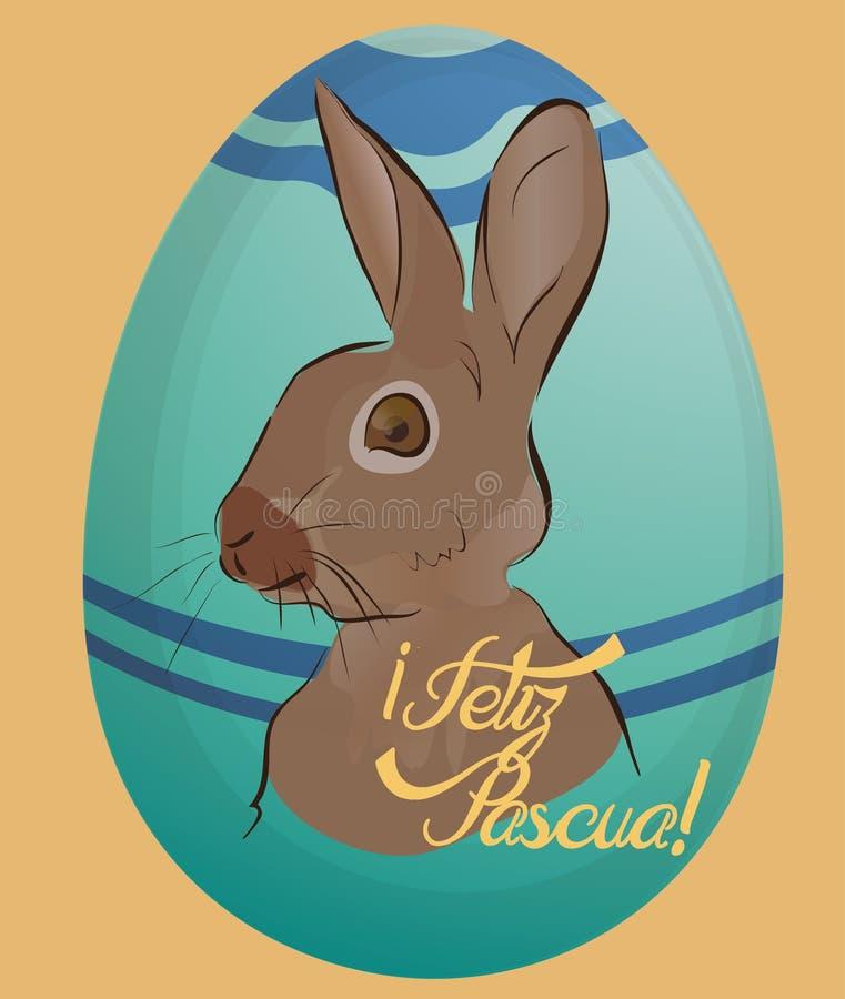 Feliz Pascua Holiday Card com ovo ilustração royalty free