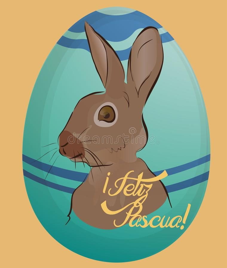 Feliz Pascua Holiday Card con l'uovo royalty illustrazione gratis