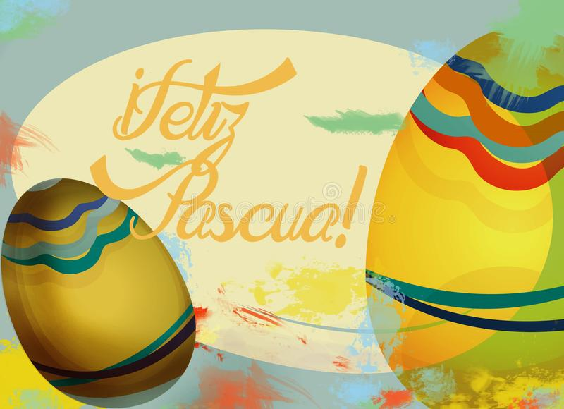 Feliz Pascua Holiday Card con le uova royalty illustrazione gratis