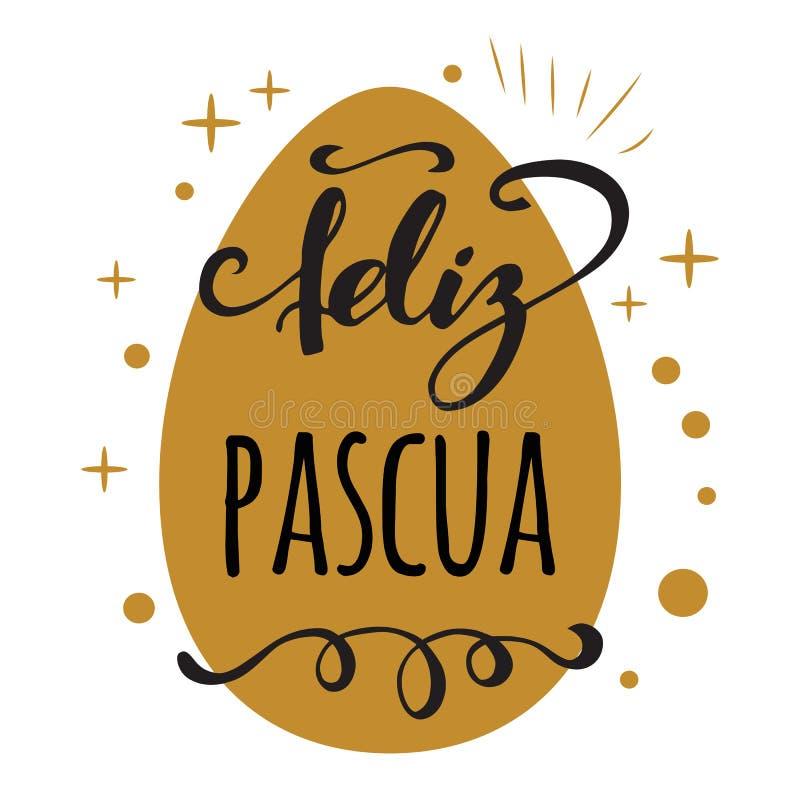 Feliz Pascua Szczęśliwa wielkanoc w Hiszpańskim kartka z pozdrowieniami na jaskrawym złocistym jajecznym tle royalty ilustracja