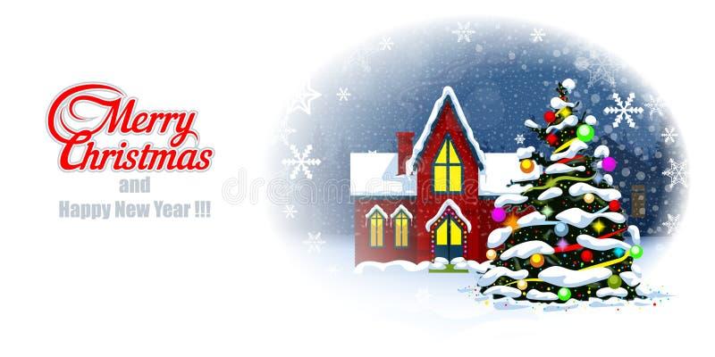 Feliz postal de Cristmas y Feliz Año Nuevo ilustración del vector