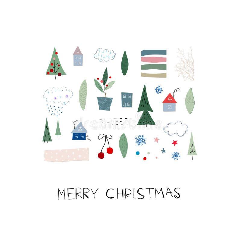 Feliz postal de la estación del invierno de la nieve del árbol de navidad libre illustration