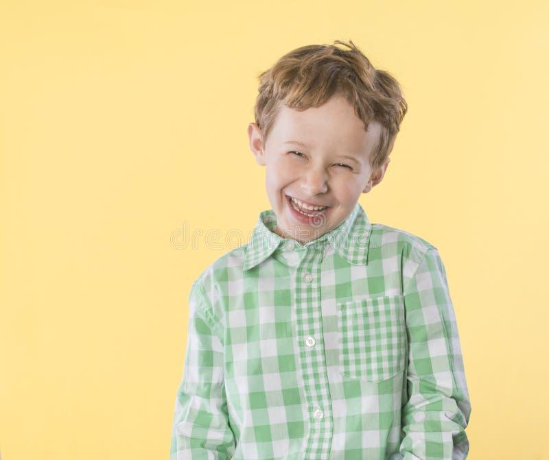 Feliz, rapaz pequeno na camisa quadriculado verde e branca foto de stock