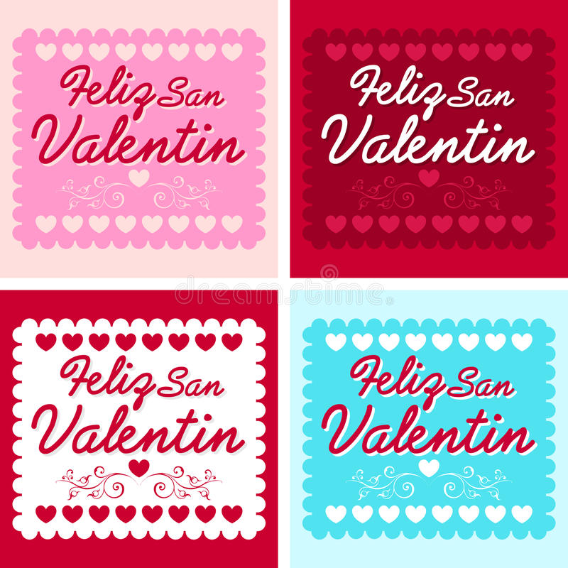 Feliz San Valentin - Happy valentines day in spanish royalty free illustration