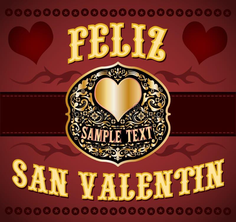 Feliz San Valentin - Happy Valentines spanish text. Cowboy / western style card - eps available stock illustration