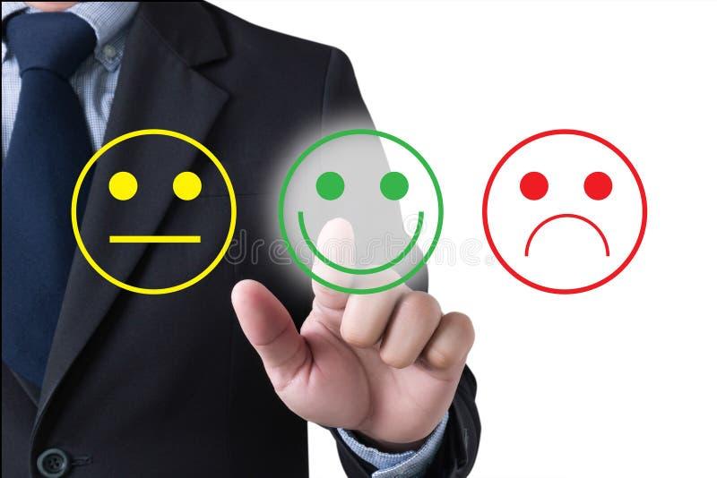Feliz seleto do homem de negócio na avaliação da satisfação? imagem de stock royalty free