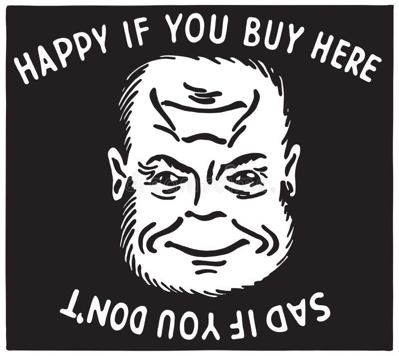 Feliz si usted compra aquí libre illustration