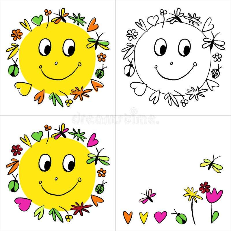 Feliz sol del cuadro ilustración del vector