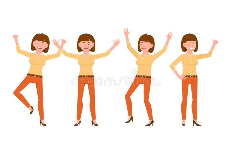 Feliz, sonriendo, mujer joven del pelo bastante marrón en el ejemplo anaranjado del vector de los pantalones Salto, manos para ar stock de ilustración
