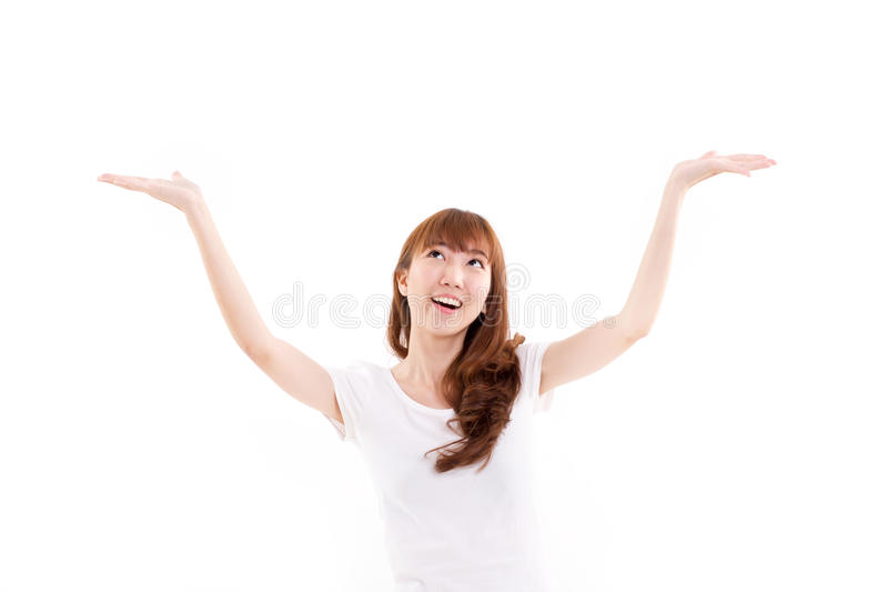 Feliz, sorrindo, mulher contente, alegre que olha acima, levantamento ambo mão fotos de stock royalty free