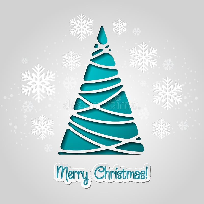 Feliz tarjeta de felicitación del árbol de navidad Diseño de papel libre illustration