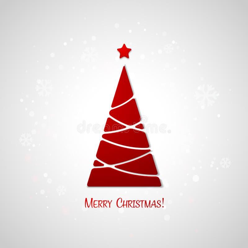 Feliz tarjeta de felicitación del árbol de navidad Diseño de papel ilustración del vector