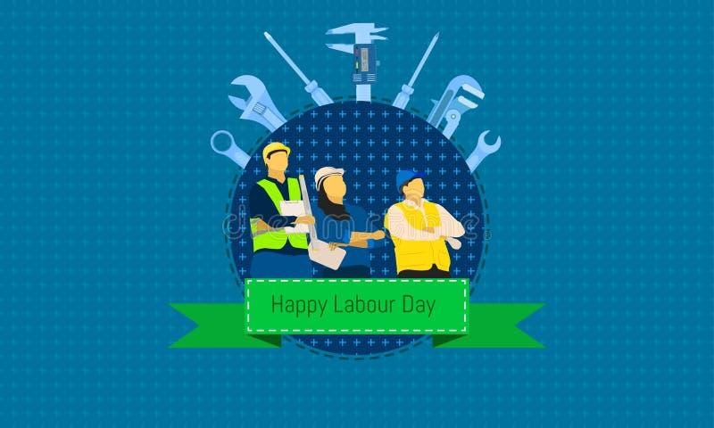 Feliz trabalhe o dia 1 pode homem e posição fêmea que olham o céu conceito de projeto da engenharia com a régua da chave da chave ilustração stock
