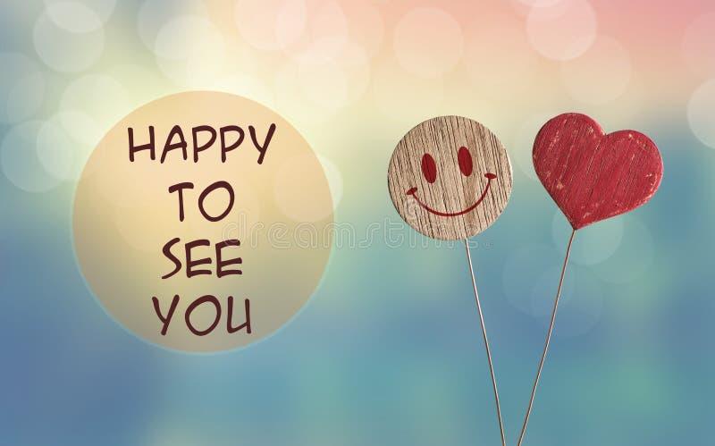 Feliz vê-lo com o emoji do coração e do sorriso ilustração royalty free