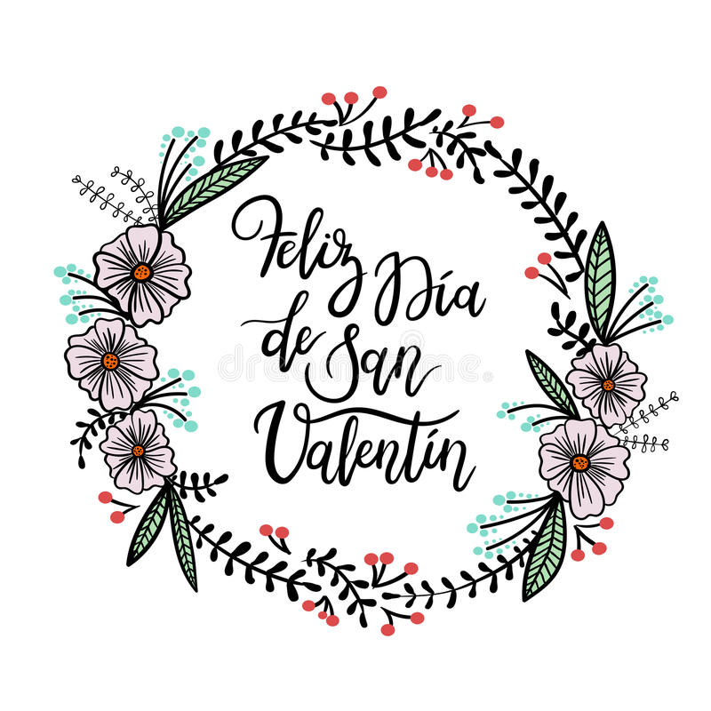 Feliz Valentin Ευτυχής γράφοντας ευχετήρια κάρτα χεριών ημέρας βαλεντίνων ` s ελεύθερη απεικόνιση δικαιώματος