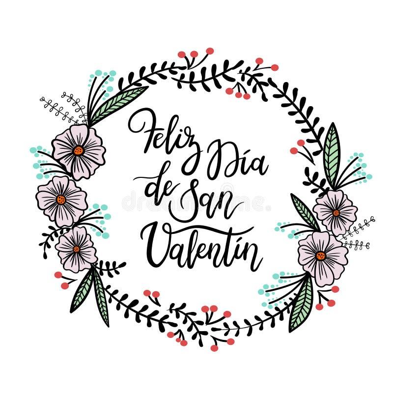 Feliz Valentin Lyckligt kort för hälsning för bokstäver för hand för dag för valentin` s royaltyfri illustrationer