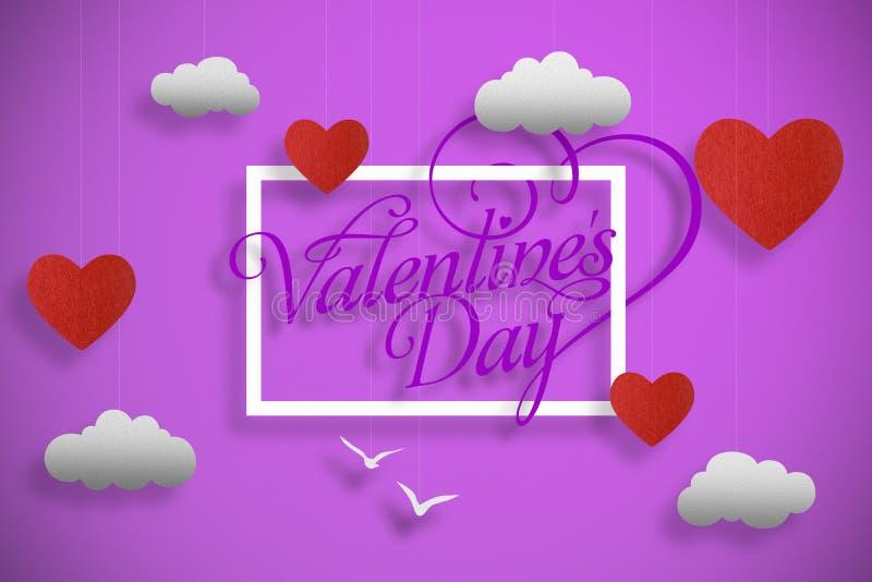 FELIZ VALENTINE`S DAY em cores cor-de-rosa ilustração stock
