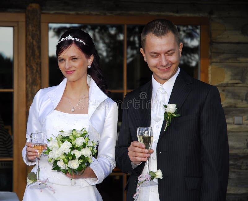 Feliz wed recentemente pares imagens de stock royalty free
