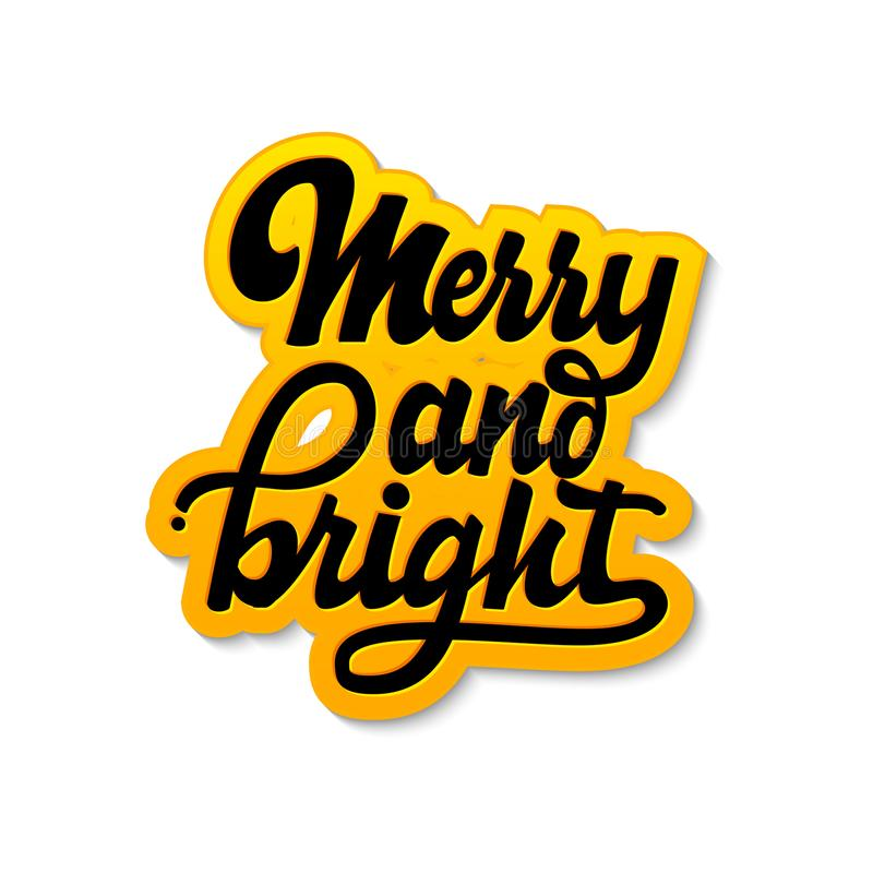 Feliz y brillante Letras y caligrafía de la Navidad con los elementos decorativos del diseño Tarjeta festiva del vector stock de ilustración