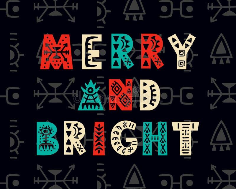 Feliz y brillante Papá Noel en un trineo ilustración del vector