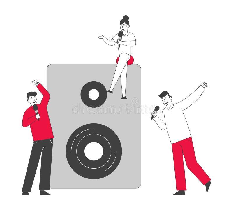 Felizes Amigos se divertindo cantando no Karaoke Bar ou no Night Club Pessoas com grande humor tendo festa no Trendy Nightclub ilustração stock