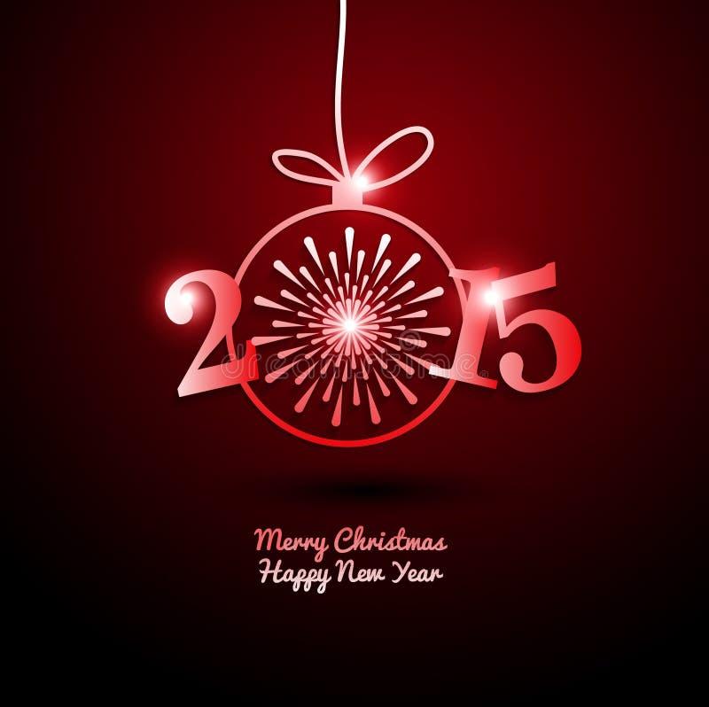 2015 Felizes Natais e ano novo feliz com fogo de artifício ilustração do vetor