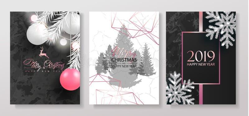 2019 Felizes Natais e coleção com textura de mármore, bolas dos cartões do luxo do ano novo feliz do Natal, festão, flocos de nev ilustração stock