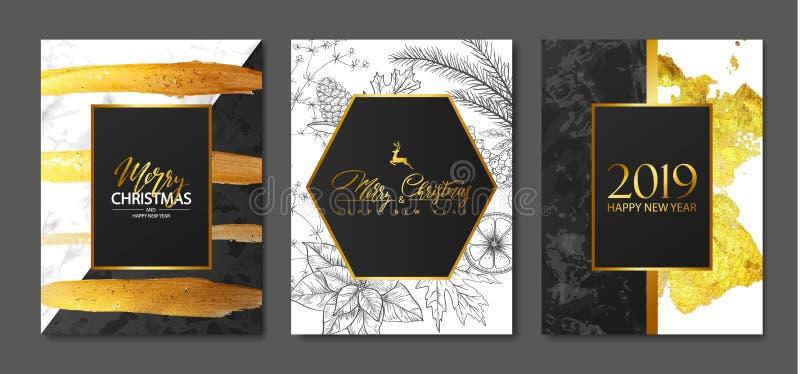 2019 Felizes Natais e coleção dos cartões do luxo do ano novo feliz com textura de mármore, cursos dourados da escova e pla desen ilustração stock