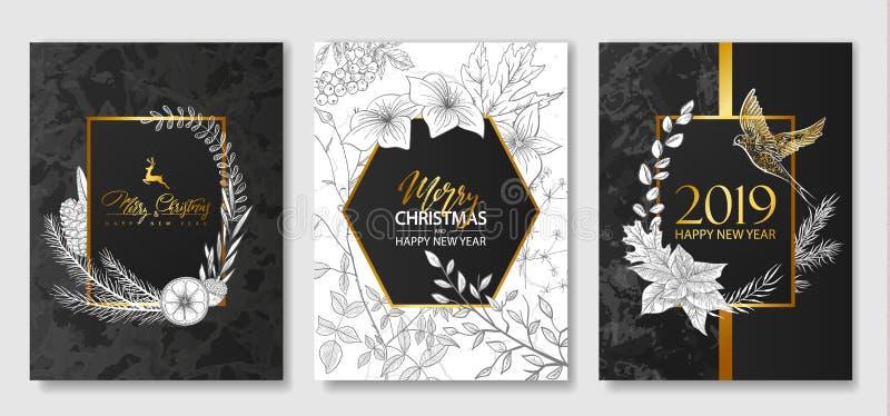 2019 Felizes Natais e coleção dos cartões do luxo do ano novo feliz com textura de mármore, quadros geométricos dourados e as pla ilustração do vetor