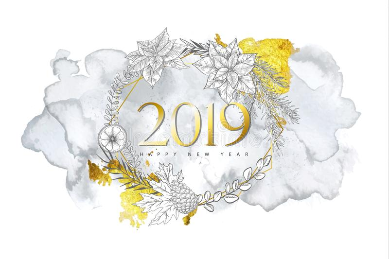 2019 Felizes Natais e fundo do ano novo feliz com as plantas desenhados à mão do inverno, forma geométrica dourada e textura da a ilustração stock