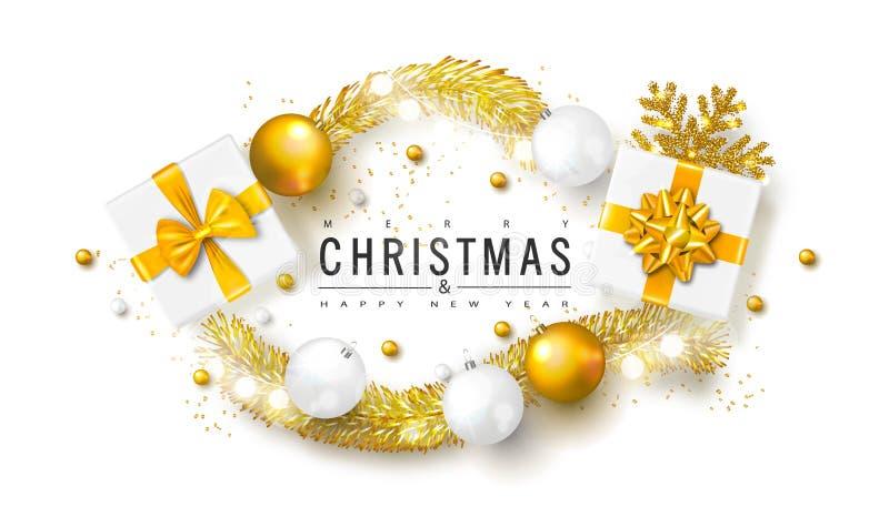 2019 Felizes Natais e fundo do ano novo feliz com bolas, caixas de presente e ouropel do Natal Ilustração do vetor para o gree do ilustração do vetor
