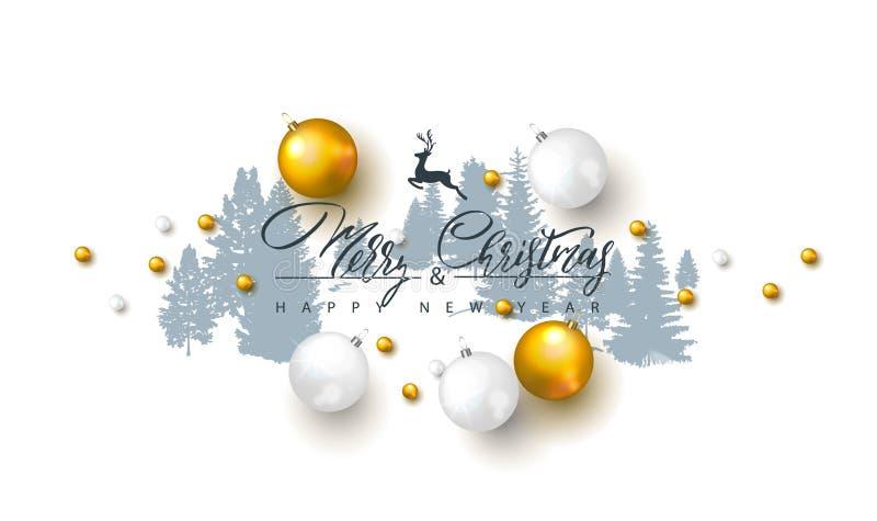 2019 Felizes Natais e fundo do ano novo feliz com bolas do Natal e árvores de floresta das silhuetas Ilustração do vetor para o h ilustração do vetor