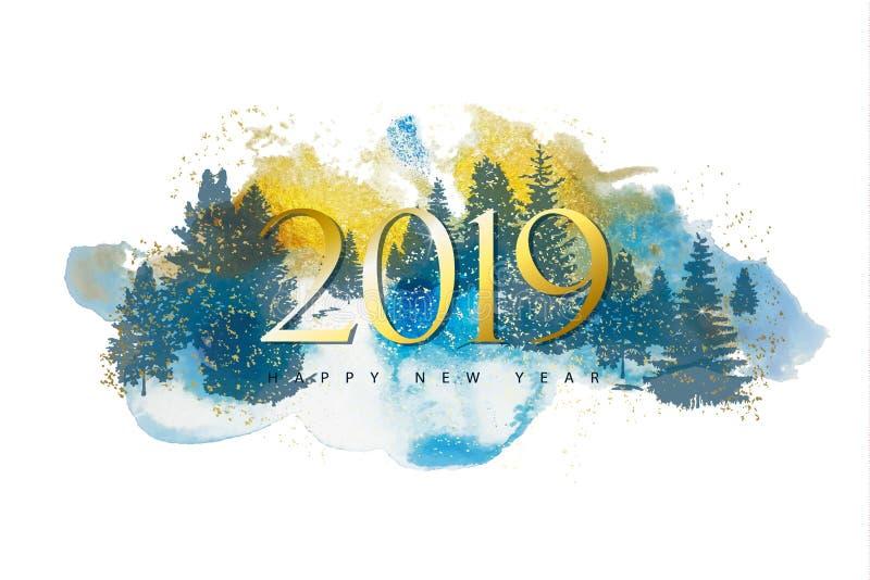 2019 Felizes Natais e fundo do ano novo feliz com textura das árvores e da aquarela de floresta das silhuetas Ilustração do vetor ilustração stock