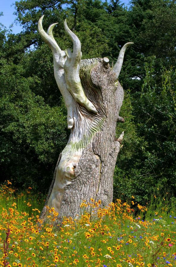 Felled Tree Trunk Carved Sculpture at Trentham Estate. Half of a felled tree at Trentham Estate, Stoke-on-Trent UK carved to resemble otters swimming in water stock photography