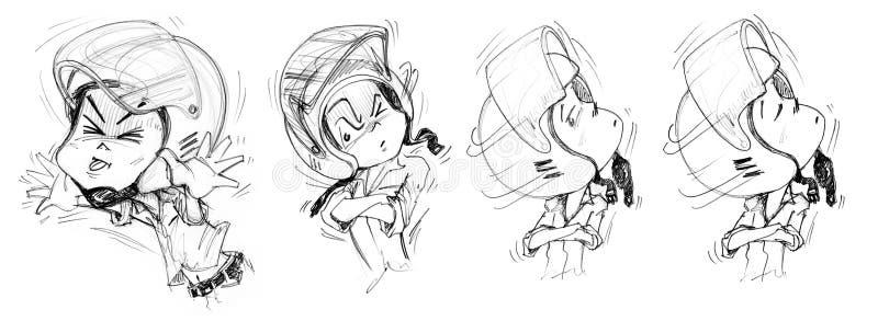 Felling Cartoon Animation Acting Bike Man Character design. Felling Cartoon Acting Teasing Tongue animation step to uptight, Indifferent, unknowing, Bike Man royalty free illustration