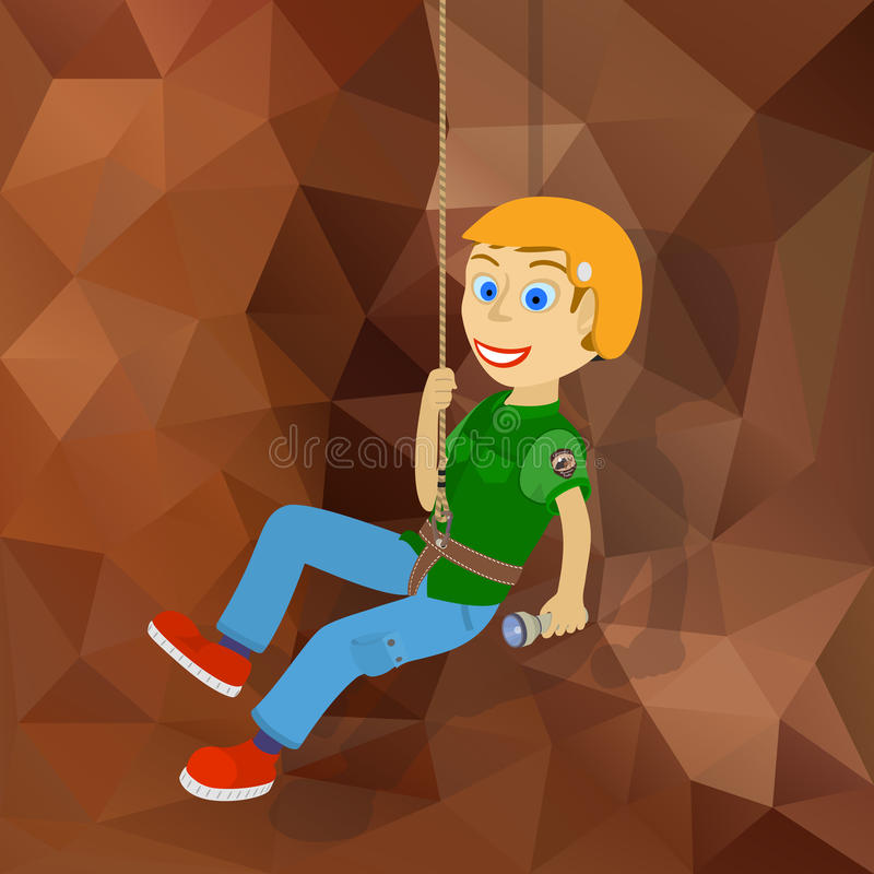 Fellow climber descends on a rope from a cliff. Vector illustration. Gradient background vector illustration