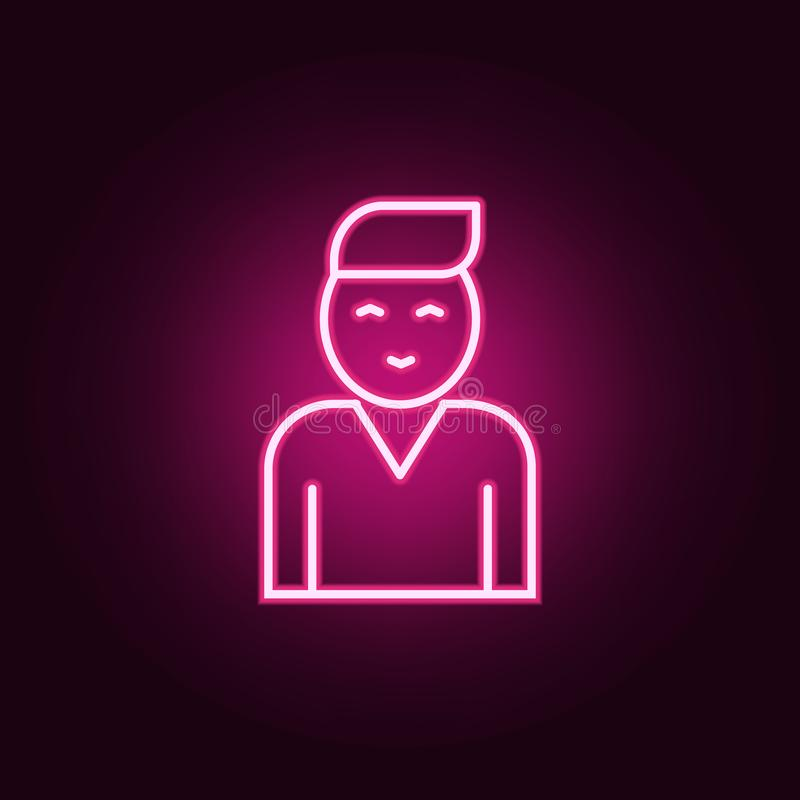 Fellow employee icon. Elements of interview in neon style icons. Simple icon for websites, web design, mobile app, info graphics. On dark gradient background vector illustration