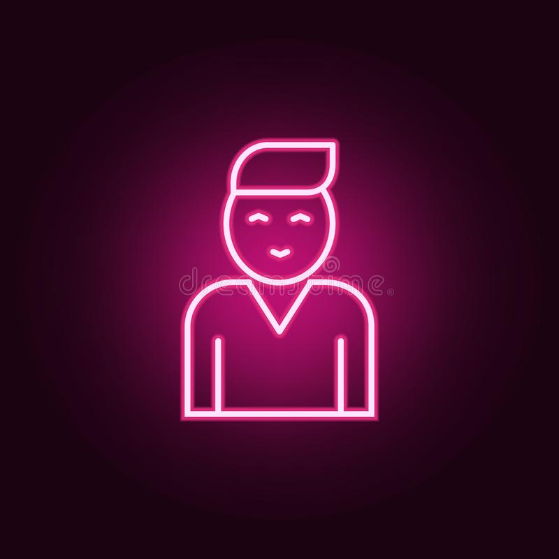 Fellow employee icon. Elements of interview in neon style icons. Simple icon for websites, web design, mobile app, info graphics. On dark gradient background royalty free illustration