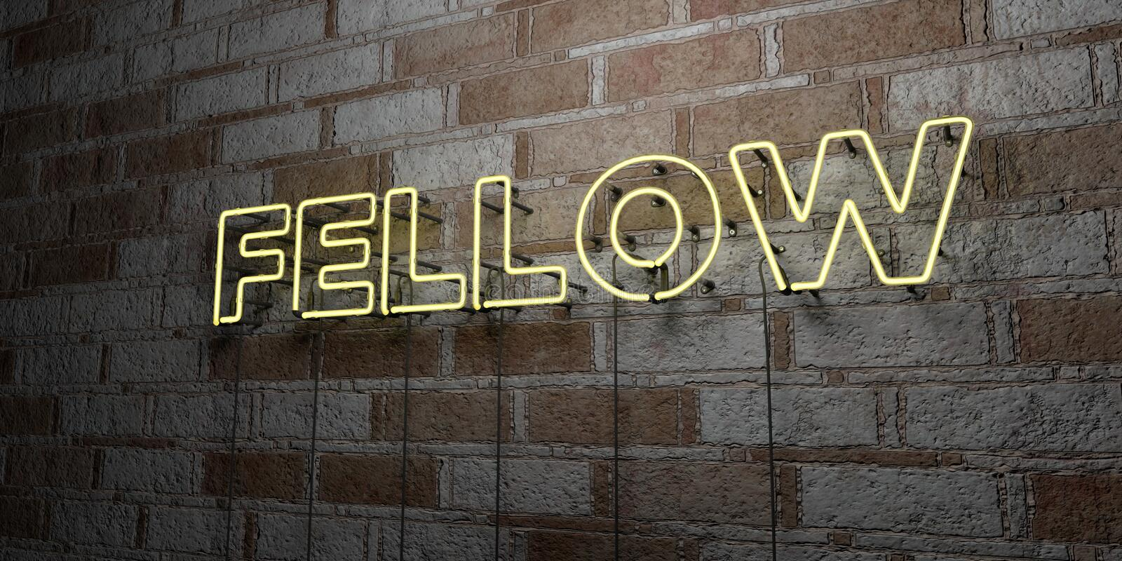 FELLOW - Glowing Neon Sign on stonework wall - 3D rendered royalty free stock illustration. Can be used for online banner ads and direct mailers royalty free illustration