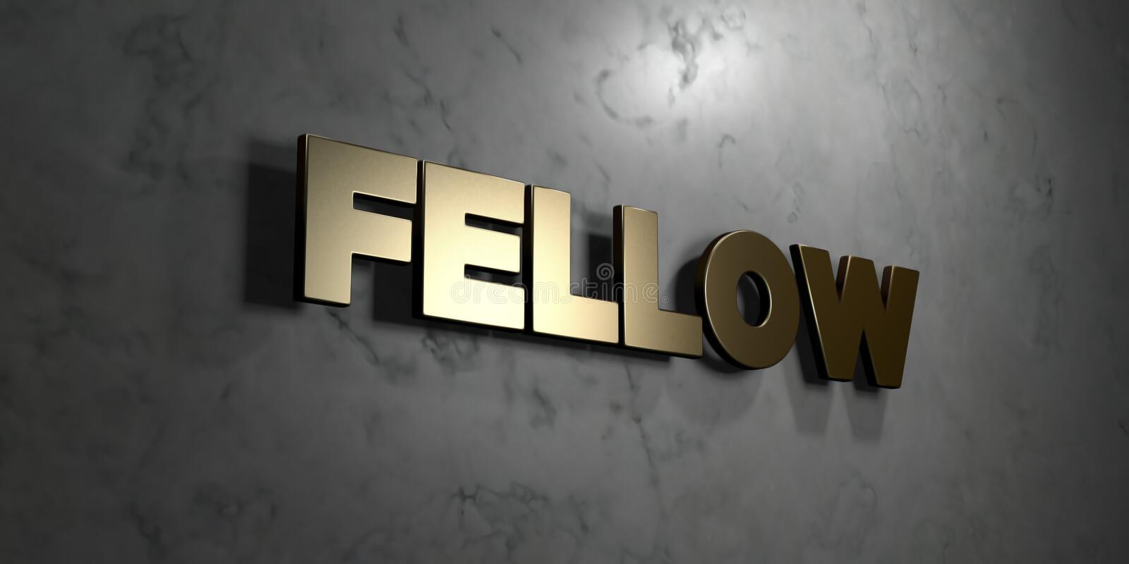 Fellow - Gold sign mounted on glossy marble wall - 3D rendered royalty free stock illustration. This image can be used for an online website banner ad or a royalty free illustration