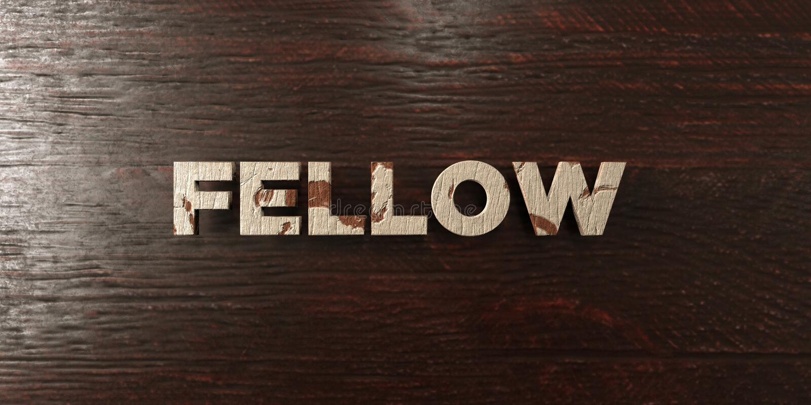 Fellow - grungy wooden headline on Maple - 3D rendered royalty free stock image. This image can be used for an online website banner ad or a print postcard vector illustration
