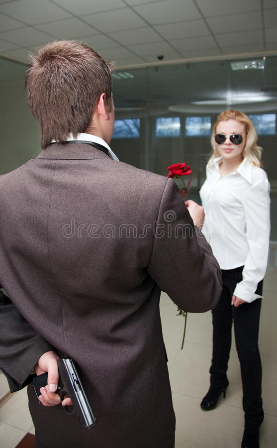 Download Fellow with a pistol stock photo. Image of gift, situation - 13154004