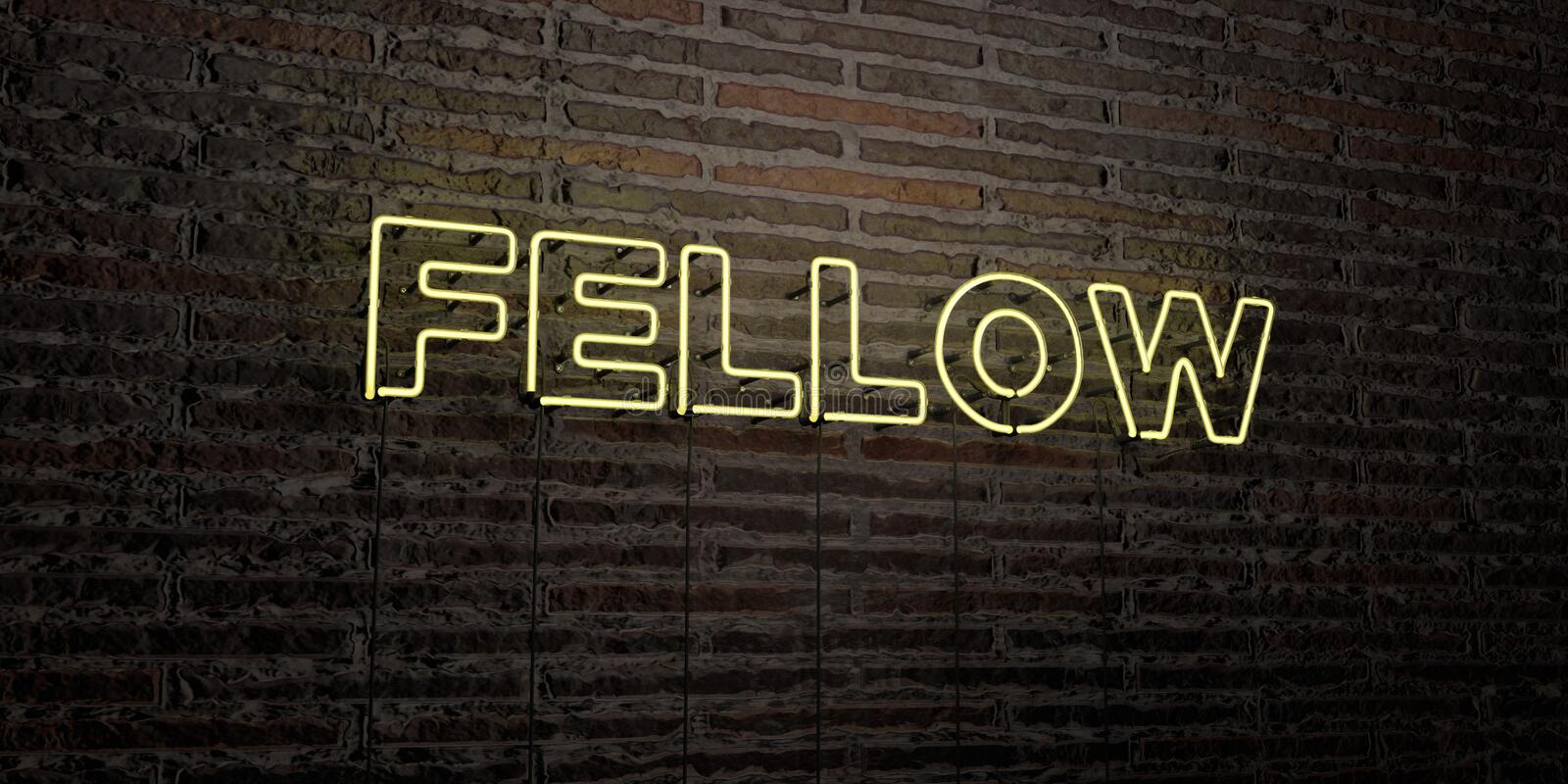 FELLOW -Realistic Neon Sign on Brick Wall background - 3D rendered royalty free stock image. Can be used for online banner ads and direct mailers vector illustration