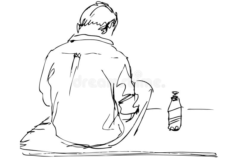 Fellow sits on a table with the bottle of beer. Sketch a fellow sits on a table with the bottle of beer stock illustration