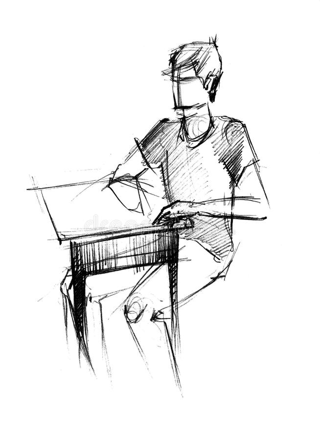Fellow in a sport shirt at the table. Images of sitting fellow in a sport shirt at the table vector illustration